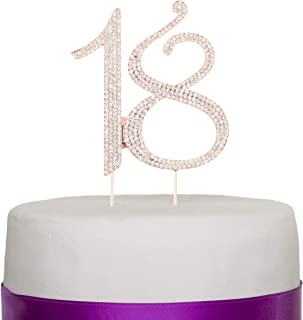 Ella Celebration 18 Cake Topper for 18th Birthday or Anniversary Rhinestone Number Party Decoration Supplies & Ideas (Rose Gold)