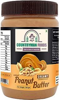 All Natural Peanut Butter Creamy Unsweetened 500 GM | 30% Protein, Gluten Free, Non-GMO, Vegan, Healthy, Keto Friendly | Z...