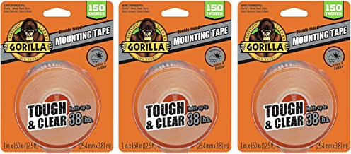 Gorilla 6036002 Tough & Clear XL Mounting Tape, 150 inches, Clear (Тhree Pаck, Clear)