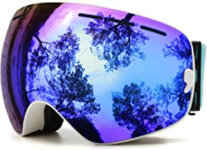 Juli Ski Goggles,Winter Snow Sports Snowboard Goggles with Anti-Fog UV Protection Interchangeable Spherical Dual Lens for ...