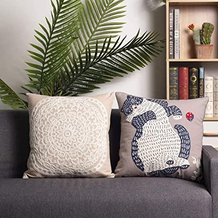 decorative cushions in Creamy made with a stitching detail of 12 \u201cwide all around the cushion beige white bedroom Pillow cover 18 x 18