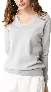 [ジンジンW] サマーレディースセーター Vネックニット 半袖 长袖 9色無地 可愛い シンプルニット カジュアル トップス長袖-グレー M