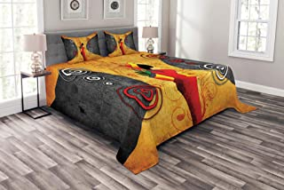 Lunarable African Coverlet Set Queen Size, Traditional African Woman Surrounded by Swirling Motifs Savannah Female Graphic, Decorative Quilted 3 Piece Bedspread Set with 2 Pillow Shams, Multicolor
