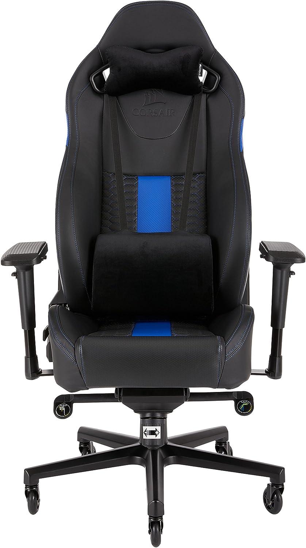 Corsair T2 Road Warrior Schreibtisch- und Gaming-  Bürostuhl, mit hoher Rückenlehne, Lederimitat, schwarz blau