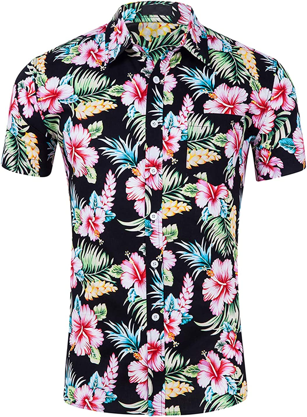 Max 63% OFF Yeokou Men's Cotton Short Sleeve Print Button Down Floral Hawaii Special sale item