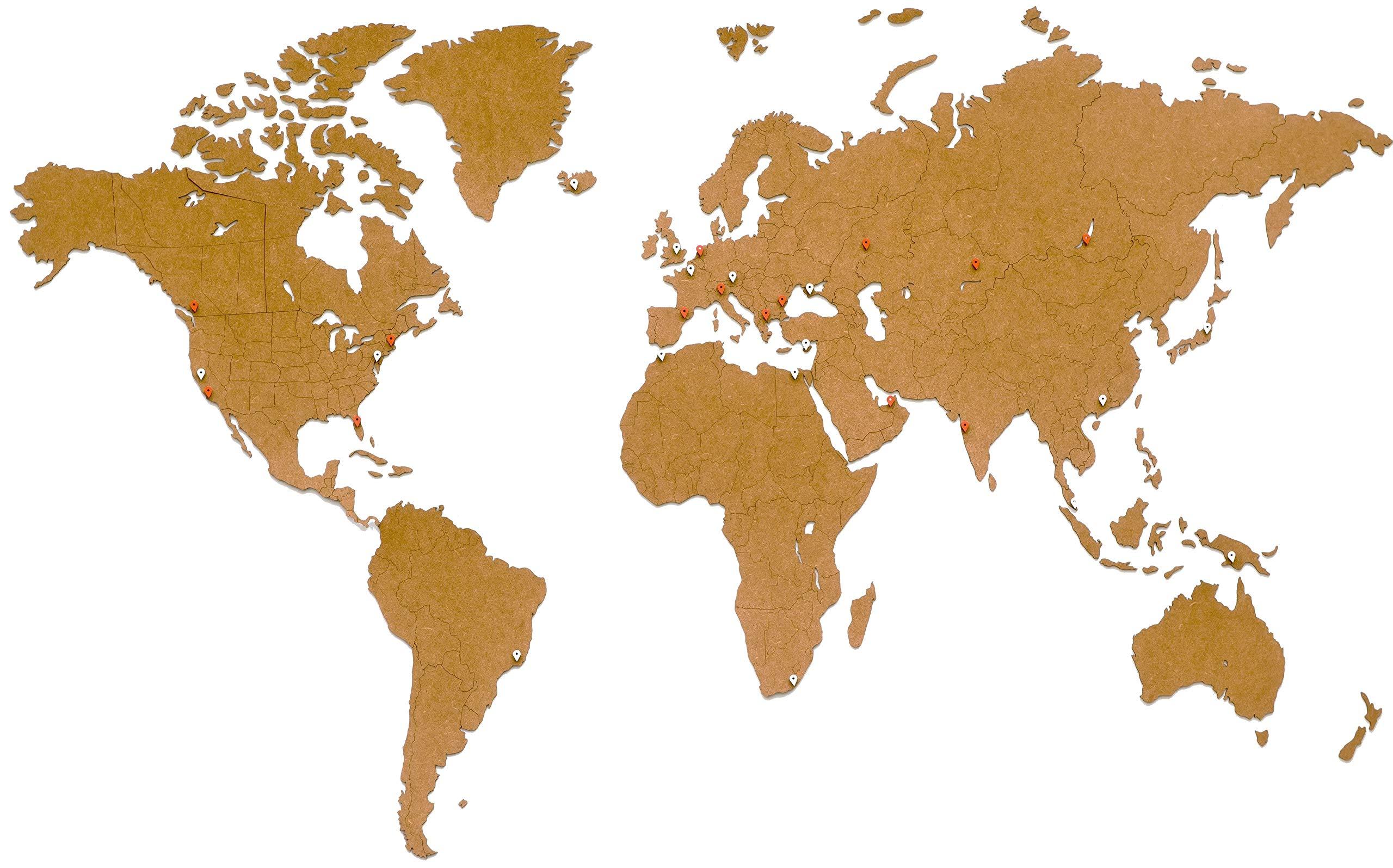 MiMi Innovations - Decoración de pared de mapa del mundo de madera de lujo 180 x 108 cm - Marrón: Amazon.es: Hogar