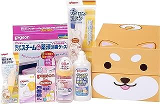 【Amazon.co.jp限定】贝亲 Pigeon 母乳实感 产准备套装(奶瓶、奶嘴S、奶瓶清洗剂、消毒盒、消毒剂、清洁刷)柴犬