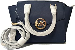 Michael Kors Hudson Medium Satchel in Saffiano Leather Navy Medium Navy