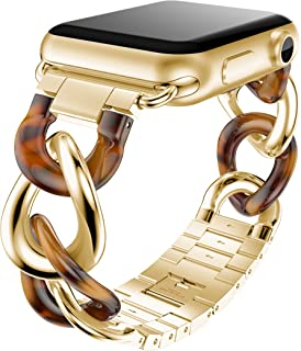 ANCOOL Compatible for Apple Watch Bands 38mm 42mm Fashion Stainless Steel Metal Bracket Acetate Link Bracelet Strap Replacement Wristband for Apple Watch Series 4 3 2 1