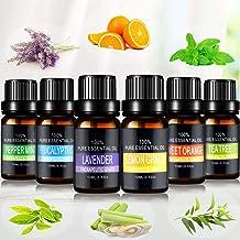 Joylink Aceites Esenciales, 100% Natural Puro, 6 x 10 ml Set de Aceites Esenciales?Lavanda, Menta, Naranja Dulce, Eucalipto, Arbol de Té, Hierba de Limón?