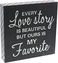 Barnyard Designs Every Love Story is Beautiful Wooden Box Wall Art Sign, Primitive Country Farmhouse Home Decor Sign with Sayings 8