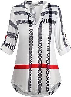 قميص باكمام 3/4 لفة للنساء من ساسي كود - قميص فضفاض برقبة منقوشة واسعة من الاعلى