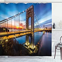 Ambesonne Apartment Decor Collection, George Washington Bridge Connecting NJ to Manhattan NY Sunlights Clear Sky Image, Polyester Fabric Bathroom Shower Curtain Set with Hooks, Blue Bright Gold