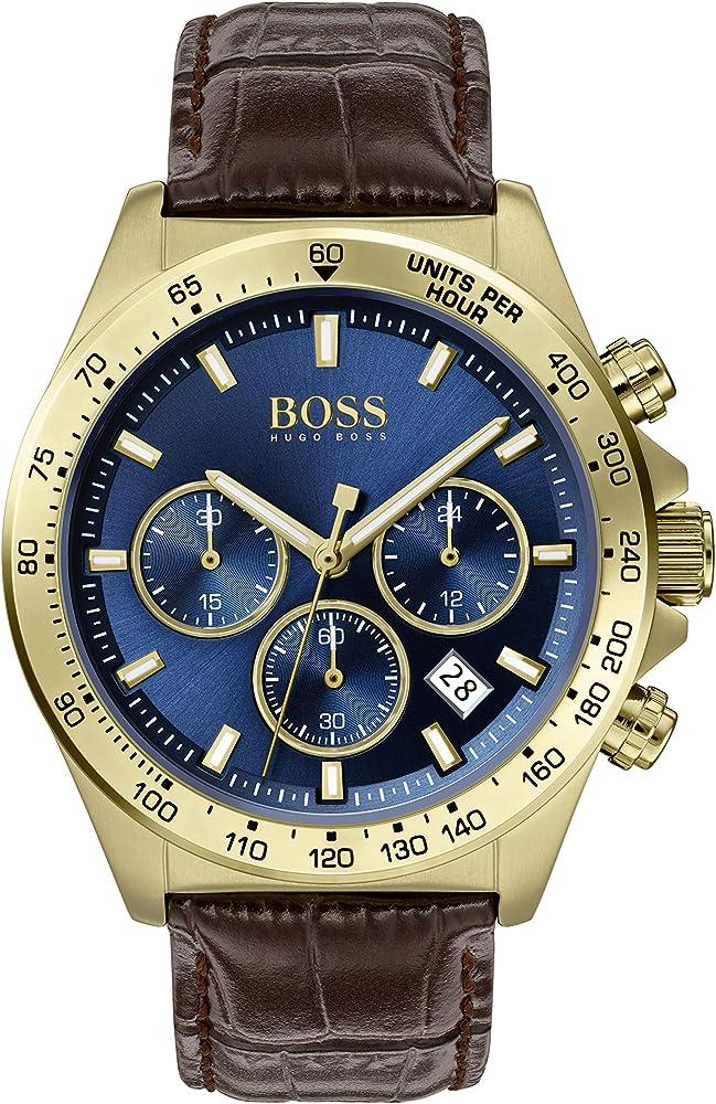 Hugo boss,orologio,cronografo per uomo,quadrante blu con dettagli in oro giallo,cinturino in pelle 1513756