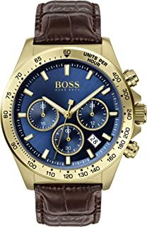 Hugo Boss Mens Quartz Watch, Chronograph Display and Leather Strap 1513756