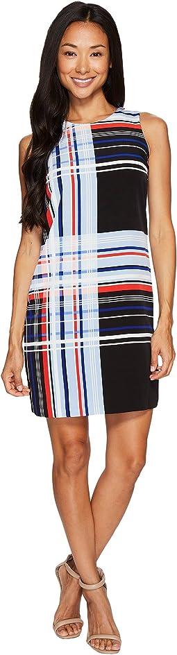Petite Sleeveless Linear Graphic Panel Shift Dress