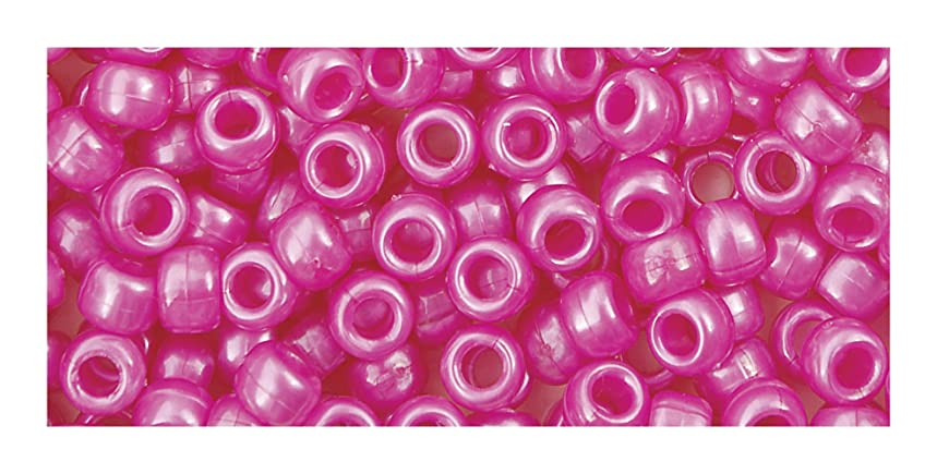 The Beadery 6 by 9mm Barrel PonyBead, Hot Pink, 900-Pieces
