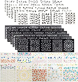 Gnognauq 90 Sheets 3D Mini Design Self-adhesive Tip Nail Stickers Black White Colorful Flower Stickers Nail Art Tattoo Nail Decals for Nail Art Decoration