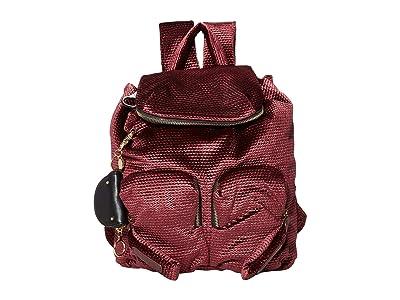 See by Chloe Textured Velvet Joyrider Backpack (Burgundy) Backpack Bags