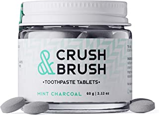 Crush & Brush Toothpaste Tablets-Mint Charcoal GLASS JAR - 60g ~ 80 Tablets