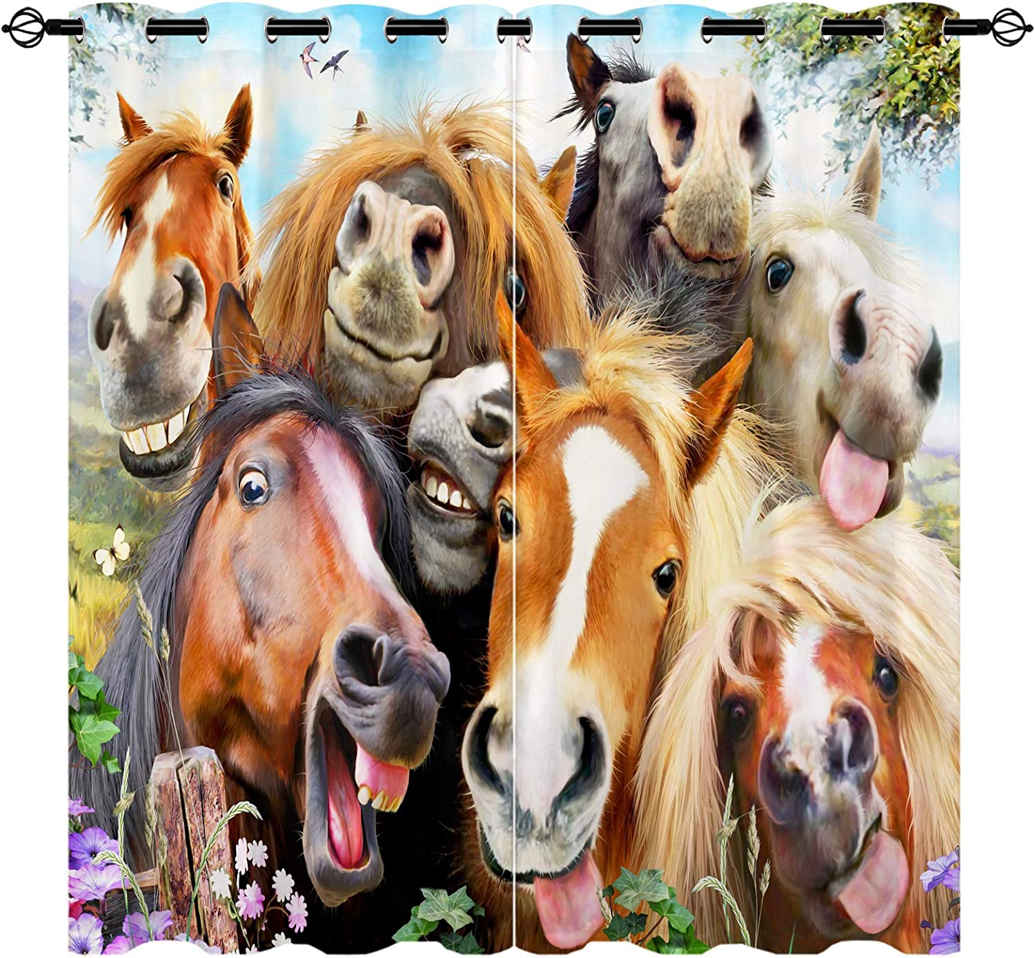 Nippon regular agency Horse Curtains Natural Forest Many popular brands Cute 3D Grommet Blac Pattern