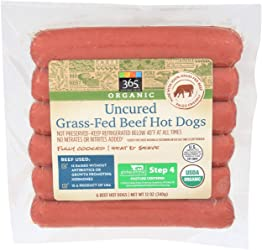 365 Everyday Value Organic, Uncured Grass-Fed Beef Hot Dogs (6 units), 12 oz