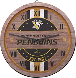 FOCO NHL Pittsburgh Penguins Team Logo Wood Barrel Wall ClockTeam Logo Wood Barrel Wall Clock, Team Color, One Size