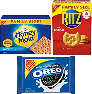 Oreo (ORMT9) RITZ And Honey Maid Snack Variety Pack(Family Size), Chocolate sandwich cookies, salted crackers and honey gr...