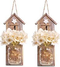 BeSuerte Rustic Mason Jar Wall Sconce 2019 Rustic Country Decoration for Home Decor, Living Room, Bathroom, Farmhouse with LED Fairy Lights (Set of 2)
