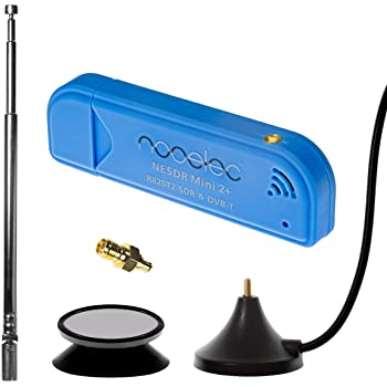 Nooelec NESDR Mini 2+ 0.5PPM TCXO RTL-SDR & ADS-B USB Receiver Set w/Antenna, Suction Mount & Female SMA Adapter. RTL2832U & R820T2 Tuner. Low-Cost Software Defined Radio