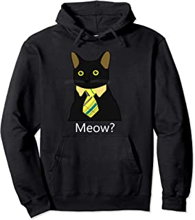 Black Business Cat Kitten with Yellow Tie Pullover Hoodie