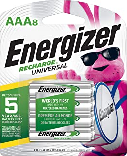 Energizer Rechargeable AAA Batteries, 700 mAh NiMH, Pre-charged, Chargeable for 1,000 Cycles, 8 Count (Recharge Universal) - Packaging May Vary