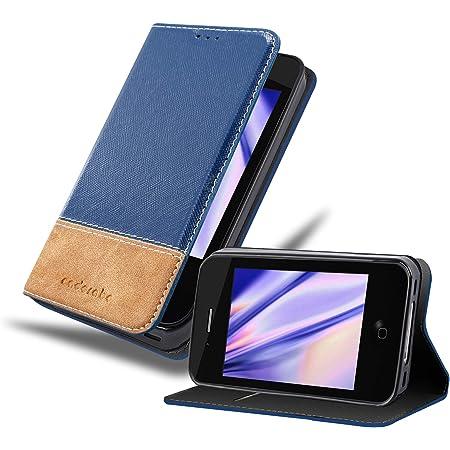 Cadorabo Coque pour Apple iPhone 4 / iPhone 4S en Bleu Brun - Housse Protection avec Fermoire Magnétique, Stand Horizontal et Fente Carte - ...
