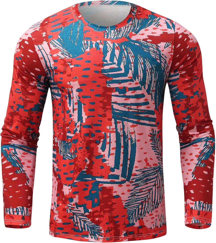 Men Long Sleeve Pullover Shirts Retro Printed Crewneck Tops Spring Autumn Winter Fashion Loose Blouse