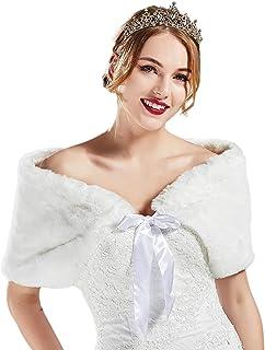 BABEYOND Womens Faux Fur Collar Shawl Bridal Faux Fur Scarf Wrap for Wedding