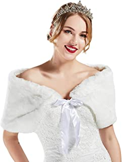 BABEYOND Womens Faux Fur Collar Shawl Bridal Faux Fur Scarf Wrap for Wedding
