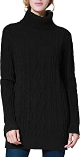 Women's Long Sweater Turtleneck Cable Knit Tunic Sweater Tops