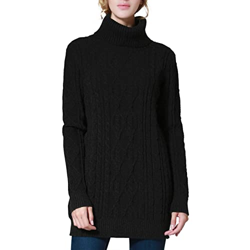 cd6bd42b2b PrettyGuide Women s Long Sweater Turtleneck Cable Knit Tunic Sweater Tops