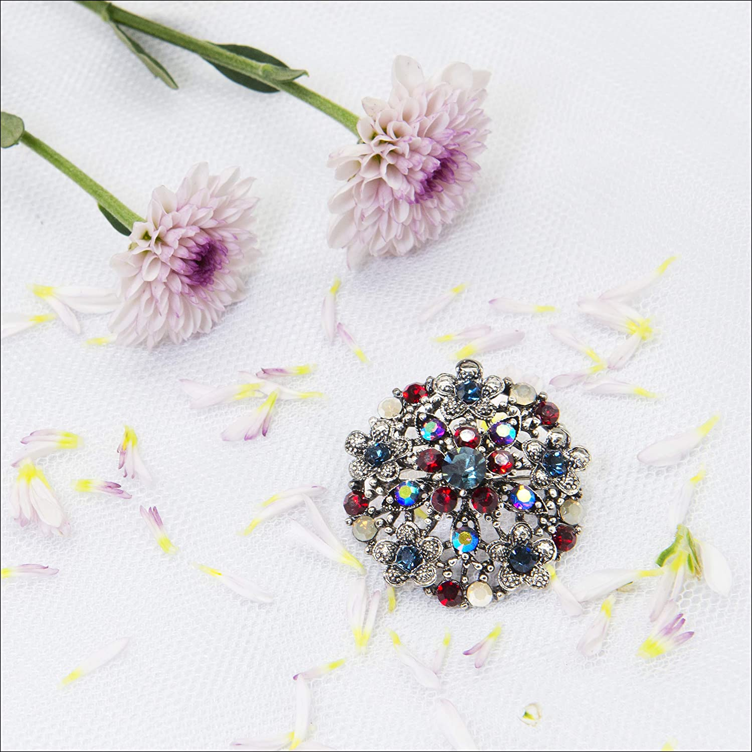 Orchid Art Crystal Brooch for Women Girls Statement Classical Fashion Flower Pin Jewelry