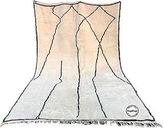 Moroccan Handmade rug Berber Beni Ourain Boujaad Azilal Shag Rug 6.2 feet x 9.8 feet Organic Wool Hand knotted Carpet