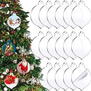 50 Pieces 3.75 Inch Acrylic Christmas Ornament Blank Transparent Acrylic Disc Acrylic Circle DIY Blank Clear Christmas Round Acrylic Ornament with Hole for DIY Craft, Holiday (Simple Style)