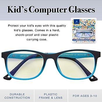 Kids Blue Light Blocking Glasses - Anti Eyestrain - Computer Video Gaming Eyeglasses for Boys & Girls - Bendable & Un...