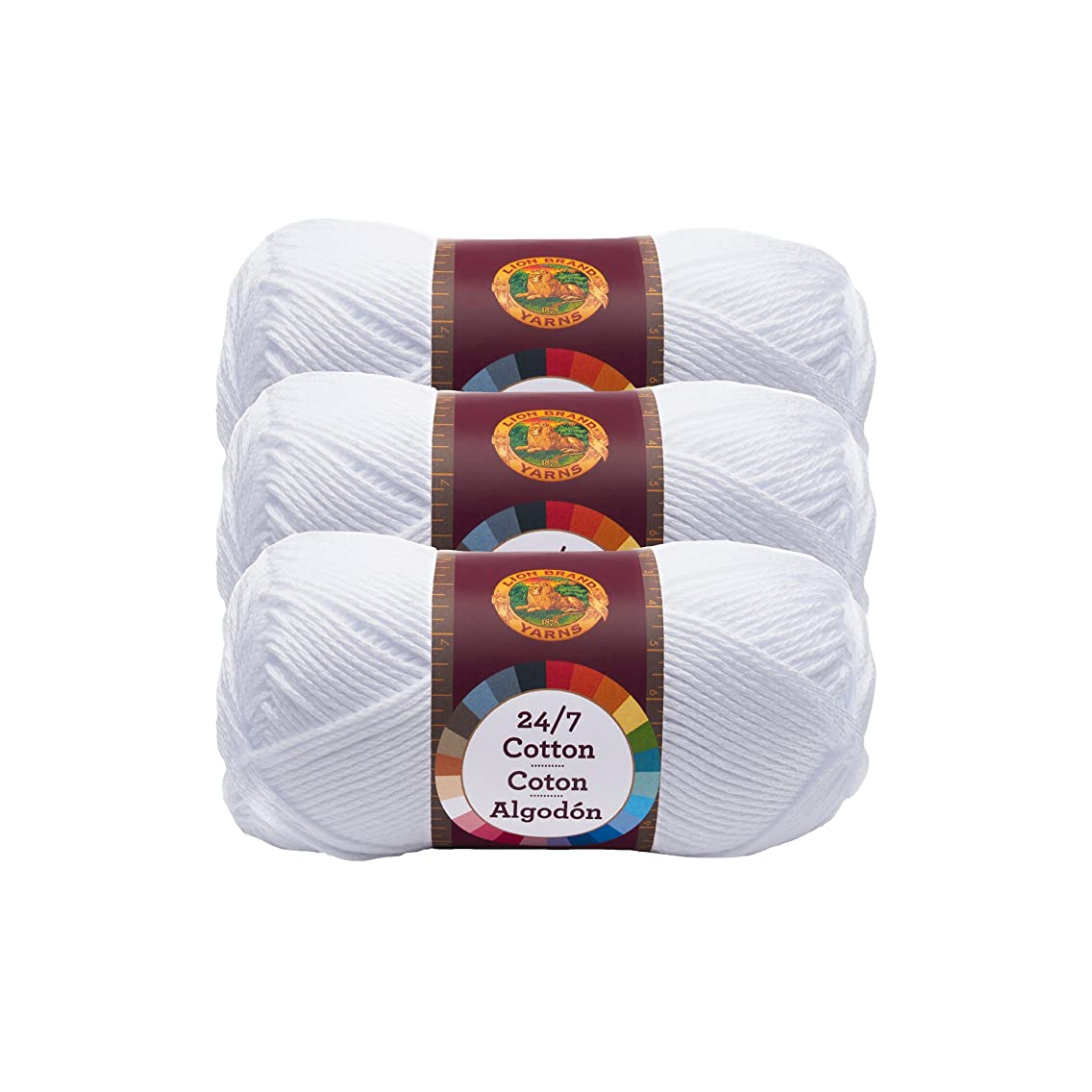 (3 Pack) Lion Brand Yarn 761-100 24-7 Cotton Yarn, White