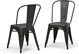 Simpli Home AXCFLE-01-DBL Fletcher Industrial Metal Dining Side Chair (Set of 2) in Distressed Black, Copper , Fully Assembled