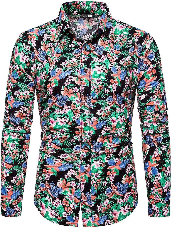 Men's Dress Shirt Long-Sleeve Flower Print Fashion Casual Plus Size Cotton Linen Shirt Holiday Vaction Outdoor Shirt