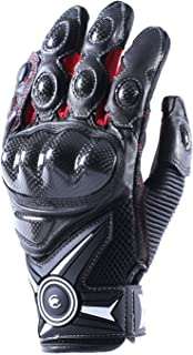 Lidauto Leather Riding Gloves Motorcycle Windproof Motor Racing Full Finger for Men