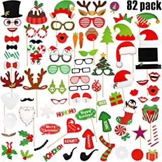 82 Pieces Christmas Party Photo Booth Props Kit Selfie Props DIY Party Supplies Accessories for Christmas Theme Party Favors for Adults Kids