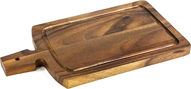 Kevin Home Acacia Wood Cutting Board With Handles 15 X 8 4 Inches Large Wooden Chopping Carving Board Serving Rustic Paddle For Bread Cheese Steak And Pizza