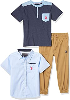 U.S. POLO ASSN. boys 3PC SS WVN/SS TEE/PANT SET Button Down Shirt