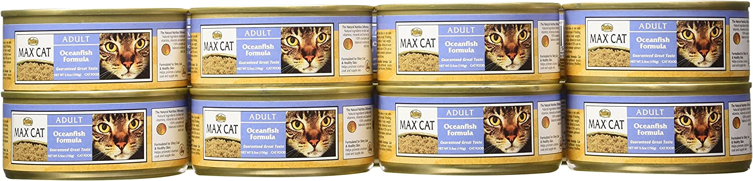 MAX CAT Adult Cat Food Oceanfish Formula Cans, 5.5 Ounce, 24 Pack